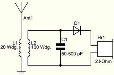 Schaltplan Detektorradio mit Drehkondensator