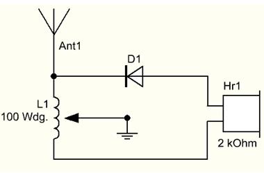 Schaltplan Detektorradio ohne Drehkondensator