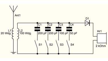 Schaltplan Detektorradio mit Keramikkondensatoren