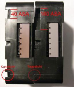 Vergleich der Kerbungen zweier Super-8-Kassetten